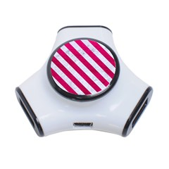 Stripes3 White Marble & Pink Leather 3 Port Usb Hub