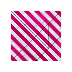 Stripes3 White Marble & Pink Leather Acrylic Tangram Puzzle (4  X 4 )