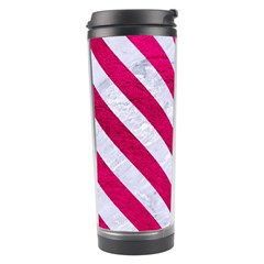 Stripes3 White Marble & Pink Leather Travel Tumbler by trendistuff