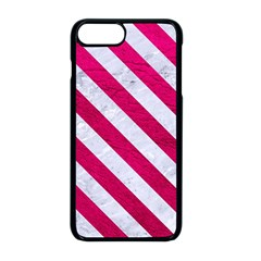 Stripes3 White Marble & Pink Leather Apple Iphone 8 Plus Seamless Case (black)