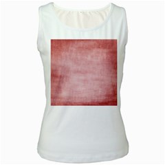 Red Color Patern Art Women s White Tank Top