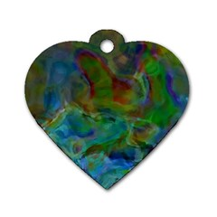 Rainbow Patern Color Dog Tag Heart (two Sides)