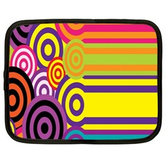 Retro Circles And Stripes 60s Netbook Case (xl)