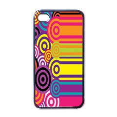Retro Circles And Stripes 60s Apple Iphone 4 Case (black)
