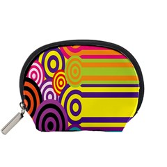 Retro Circles And Stripes 60s Accessory Pouches (small)