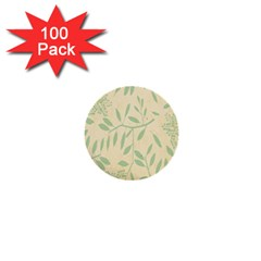 Leaves Vintage Pattern 1  Mini Buttons (100 Pack)