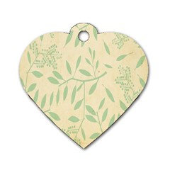 Leaves Vintage Pattern Dog Tag Heart (one Side)
