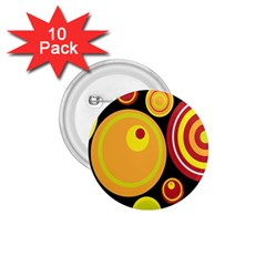 Retro Circles Background Yellow 1 75  Buttons (10 Pack)