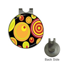 Retro Circles Background Yellow Hat Clips With Golf Markers