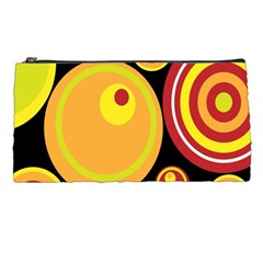 Retro Circles Background Yellow Pencil Cases