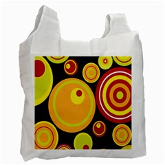 Retro Circles Background Yellow Recycle Bag (one Side)