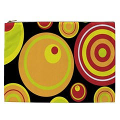 Retro Circles Background Yellow Cosmetic Bag (xxl)