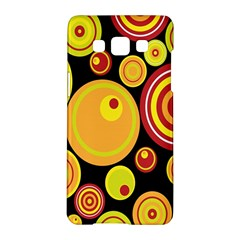 Retro Circles Background Yellow Samsung Galaxy A5 Hardshell Case