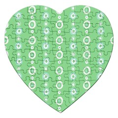 Retro Green Pattern Jigsaw Puzzle (heart)