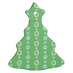 Retro Green Pattern Christmas Tree Ornament (two Sides)