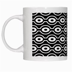 Retro Circles Pattern White Mugs