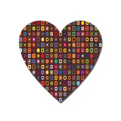 Retro Pattern Heart Magnet