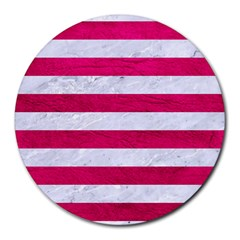 Stripes2white Marble & Pink Leather Round Mousepads