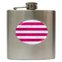 Stripes2white Marble & Pink Leather Hip Flask (6 Oz)