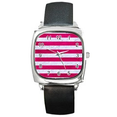 Stripes2white Marble & Pink Leather Square Metal Watch