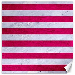Stripes2white Marble & Pink Leather Canvas 12  X 12