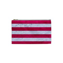 Stripes2white Marble & Pink Leather Cosmetic Bag (small)  by trendistuff
