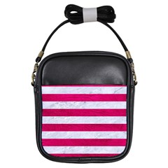Stripes2white Marble & Pink Leather Girls Sling Bags by trendistuff
