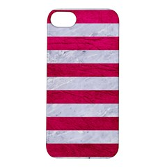 Stripes2white Marble & Pink Leather Apple Iphone 5s/ Se Hardshell Case
