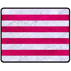 Stripes2white Marble & Pink Leather Double Sided Fleece Blanket (medium)