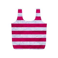 Stripes2white Marble & Pink Leather Full Print Recycle Bags (s)
