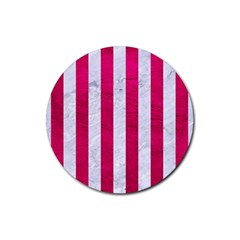 Stripes1 White Marble & Pink Leather Rubber Coaster (round)