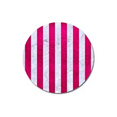 Stripes1 White Marble & Pink Leather Magnet 3  (round)