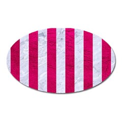 Stripes1 White Marble & Pink Leather Oval Magnet by trendistuff