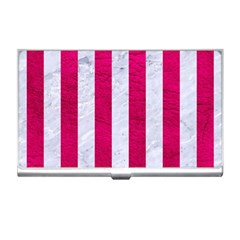 Stripes1 White Marble & Pink Leather Business Card Holders