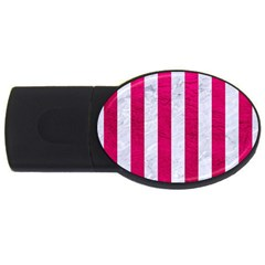 Stripes1 White Marble & Pink Leather Usb Flash Drive Oval (2 Gb)