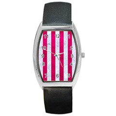 Stripes1 White Marble & Pink Leather Barrel Style Metal Watch