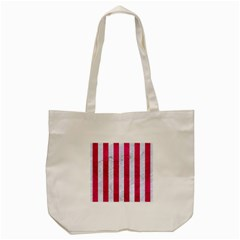 Stripes1 White Marble & Pink Leather Tote Bag (cream)