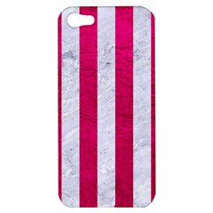 Stripes1 White Marble & Pink Leather Apple Iphone 5 Hardshell Case by trendistuff