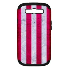 Stripes1 White Marble & Pink Leather Samsung Galaxy S Iii Hardshell Case (pc+silicone)