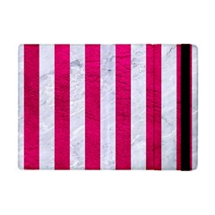 Stripes1 White Marble & Pink Leather Apple Ipad Mini Flip Case by trendistuff