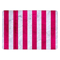 Stripes1 White Marble & Pink Leather Samsung Galaxy Tab 10 1  P7500 Flip Case by trendistuff