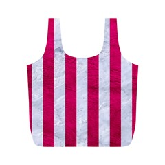 Stripes1 White Marble & Pink Leather Full Print Recycle Bags (m)