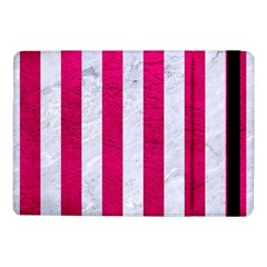 Stripes1 White Marble & Pink Leather Samsung Galaxy Tab Pro 10 1  Flip Case