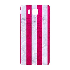 Stripes1 White Marble & Pink Leather Samsung Galaxy Alpha Hardshell Back Case by trendistuff