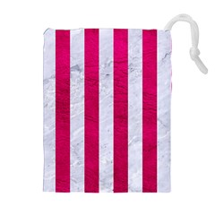 Stripes1 White Marble & Pink Leather Drawstring Pouches (extra Large)