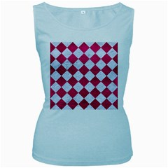 Square2 White Marble & Pink Leather Women s Baby Blue Tank Top
