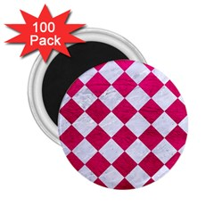 Square2 White Marble & Pink Leather 2 25  Magnets (100 Pack)