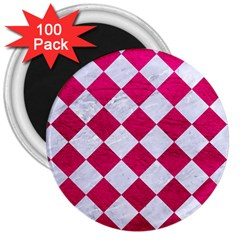 Square2 White Marble & Pink Leather 3  Magnets (100 Pack)