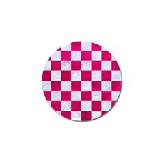 Square1 White Marble & Pink Leather Golf Ball Marker (4 Pack) by trendistuff