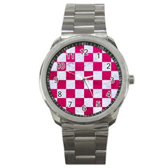 Square1 White Marble & Pink Leather Sport Metal Watch